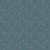 Lewis & Irene Farley Mount - 5573  - Horseshoes on Teal - A226.3 - Cotton Fabric
